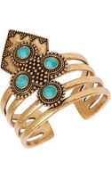 Lucky Brand Goldtone Turquoisecolored Stone Drama Cuff Bracelet - Lyst