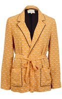River Island Yellow Print Belted Jacket - Lyst
