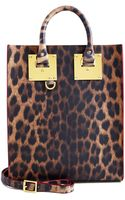 Sophie Hulme Leopard Leather Mini Tote Bag - Lyst