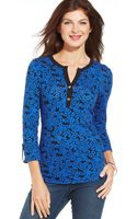 Jones New York Rolltab Floralprint Henley - Lyst