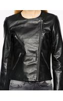 Selected Leather Biker Jacket - Lyst