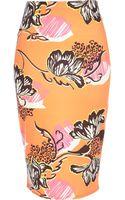 River Island Orange Tropical Print Pencil Skirt - Lyst