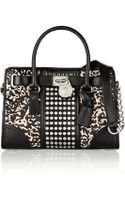 Michael by Michael Kors Hamilton Studded Leather and Printed Calf Hair Tote - Lyst