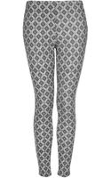 Topshop Diamond Tile Denim Leggings - Lyst
