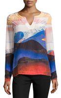 Diane von Furstenberg Jaden Sandscape-print Crepe De Chine Top - Lyst