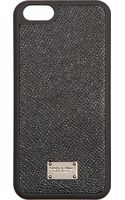 Dolce & Gabbana Black Leather Iphone 5 Case - Lyst