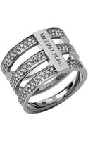 Michael Kors Silvertone Crystal Tiered Ring - Lyst