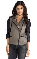 Maison Scotch Military Jacket with Leather Sleeves - Lyst