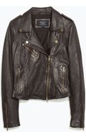 Zara Side Gathered Leather Jacket - Lyst