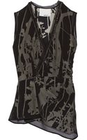 3.1 Phillip Lim Wrapeffect Printed Silk-chiffon and Crepe Top - Lyst