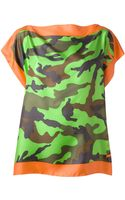 Valentino Camouflage Print Draped T-Shirt - Lyst