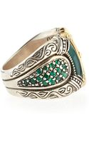 Konstantino Silver  Gold Green Agate Band Ring - Lyst