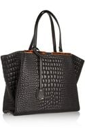 Fendi Croceffect Leather Tote - Lyst
