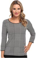 Calvin Klein 34 Sleeve Top W Faux Leather Piping - Lyst