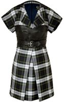 McQ by Alexander McQueen Wool Plaid Dress with Leather Bustier - Lyst