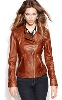 Guess Asymmetrical Zipfront Leather Jacket - Lyst