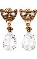 Oscar de la Renta Crystal Panther Drop Clip Earrings - Lyst