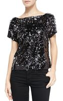Milly Scoop-back Sequined Mesh Tee - Lyst