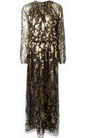 Etro Brocade Detail Cutout Shoulder Dress - Lyst