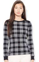 Lauren by Ralph Lauren Plaid Zip Shoulder Shirt - Lyst