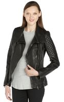 Soia & Kyo Black Leather Glynnis Quilted Accent Asymmetrical Zip Long Sleeve Jacket - Lyst
