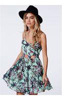 Missguided Lasgreca Floral Cut Out Dress - Lyst