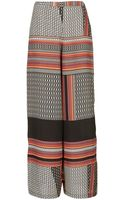 Topshop Tribal Border Wide Leg Trousers - Lyst