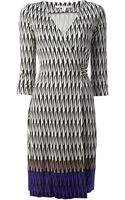 Diane Von Furstenberg Stylised Harlequin Check Wrap Dress - Lyst