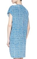 Vince Staticprint Silk Short Dress Blue - Lyst