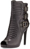 Ash April Stiletto Leather Buckle Bootie Black - Lyst