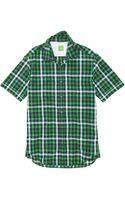 Boss Green Bastiano  Regular Fit Short Sleeved Stretch Cotton Check Print Button Down Shirt - Lyst