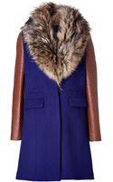 Diane Von Furstenberg Wool Bell Coat in Blue Irisfawn - Lyst