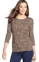 Jones New York Signature Longsleeve Animalprint Top - Lyst