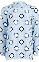 Matthew Williamson Polka Star Print Roll Neck Silk Shirt - Lyst