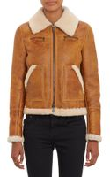 Barneys New York Lamb Shearling Zipup Jacket - Lyst