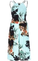 River Island Turquoise Floral Print Cropped Jumpsuit - Lyst