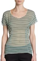 Dolce & Gabbana Sheer Stretch Silk Striped Top - Lyst