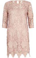 River Island Pink Lace Shift Dress - Lyst