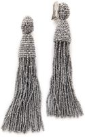 Oscar de la Renta Classic Long Tassel Earrings - Silver - Lyst