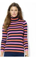 Lauren by Ralph Lauren Petite Ribbed Cotton Striped Turtleneck - Lyst