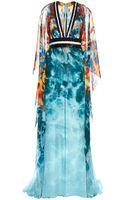 Elie Saab Embroidered Silk Georgette Floating Panel Dress - Lyst