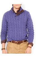 Ralph Lauren Polo Cable-knit Mockneck Sweater - Lyst