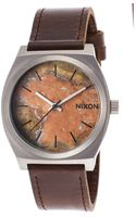 Nixon Mens Time Teller Dark Brown Genuine Leather Oxyde Dial - Lyst