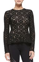 BCBGMAXAZRIA Estelle Long-sleeve Lace Peplum Top - Lyst