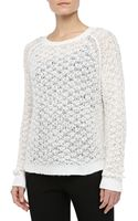 Theyskens' Theory Textured Crewneck Sweater White - Lyst