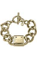 Michael Kors Logoplaque Link Bracelet Golden - Lyst