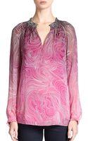 Diane von Furstenberg Leysa Printed Silk Blouse - Lyst