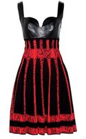 Alexander McQueen Intarsia Stretch Dress with Leather - Lyst