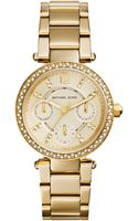 Michael Kors Womens Chronograph Mini Parker Goldtone Stainless Steel Bracelet Watch 33mm - Lyst