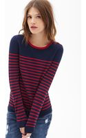 Forever 21 Striped Knit Sweater - Lyst